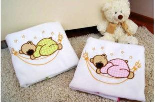 Dětská bílá deka s výšivkou