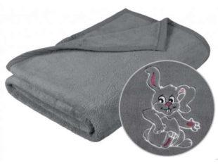 Dětská šedá deka s výšivkou